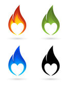 Icons of fire with heart silhouette — Stock Vector