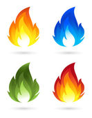 Set of fire icons — Stock Vector