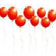 Flying red balloons — Stock Vector