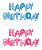 Happy Birthday letters in blue and pink — Stock Vector