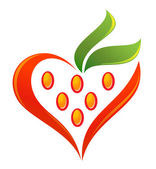 Strawberry heart with green leaves  — Vector de stock