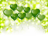 绿色心形气球 — 图库矢量图片