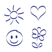 Hand drawn sun, heart, smile and flower — Stock Vector