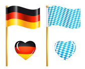 Germany and Bavaria flags icons — Stock Vector