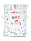 Hand drawn Back to School sketch on squared notebook paper — Stock Vector
