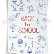 Hand drawn Back to School sketch on squared notebook paper — Stock Vector #49650841