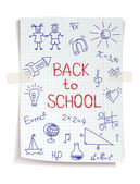 Hand drawn Back to School sketch on squared notebook paper — Stok Vektör