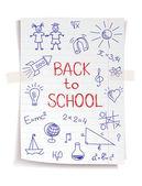 ノートブック紙の上の学校のスケッチに引き戻される手 — ストックベクタ