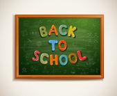 Back to school written on blackboard — Stock Vector