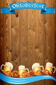Oktoberfest banner på gamla trä textur — Stockfoto