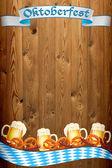 Oktoberfest banner on old wooden texture — Stock Photo