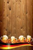 Banner de oktoberfest na textura de madeira antiga — Foto Stock