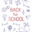 Hand drawn Back to School sketch on squared notebook paper — Stock Vector #50123213