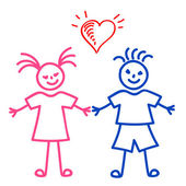 Girl and Boy, sketch — Stock Vector