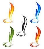 Set of fire icons — Vetor de Stock