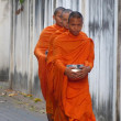 Young monks going to the offering food in Thailand - Stock Photo