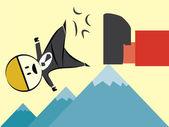 Business man fail mountain — Stock Vector