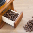 Stock Photo: Coffe bewith oldtimer grinder
