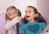 Dentist and patient - little girls — Stock Photo