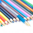 Stock Photo: Colored pencils and pen.