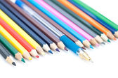Colored pencils and pen. — Stock Photo