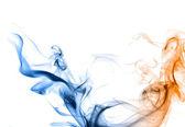Blue and orange smoke on a white background. — Stock Photo