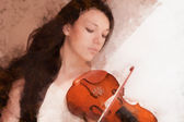 Young female and violin, drawn oil paints. — Stock Photo