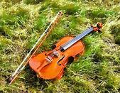 Violin drawn pastel paints. — Stock Photo