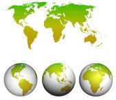 A la luz verdedünya haritası. — Stok fotoğraf