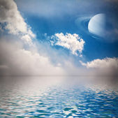 Sky with stars and planet reflected in water. — Stock Photo