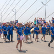 "Dance Flash mob on the ""Golden Bridge\"". — Stock Photo"