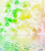 Green hexagon bokeh. — Stock Photo