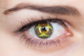 Eye with biohazard symbol. — Stock Photo