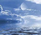 Sky and planet reflected in water. — Stock Photo