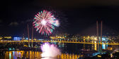 Fireworks over city. — Stock Photo