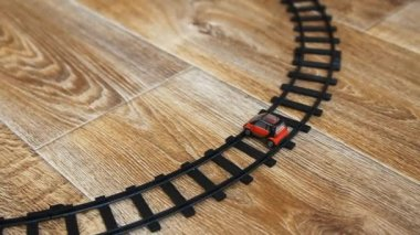 Toy train and toy car wreck. — Vídeo de stock