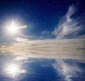 Sky with sun and stars. — Stock Photo