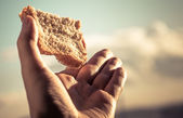 Hand hold a slice of bread. — Stock Photo