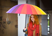 Girl with umbrella. — Stock Photo