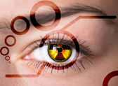 Eye with radiation symbol. — Stock Photo