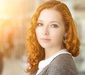 Redhead girl. — Stock Photo
