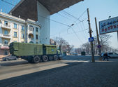 Anti-aircraft missile system is driven down street. — Stock Photo