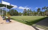 Green bowls or lawn bowls player ground — Stock Photo