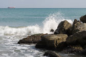 View of a rocky coast in the morning — Stock Photo