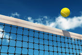 Tennis Ball over Net — Stock Photo