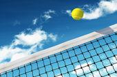 Tennis Ball over Net — Stock Photo
