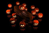 Halloween Pumpkins on the coffin — Stock Photo