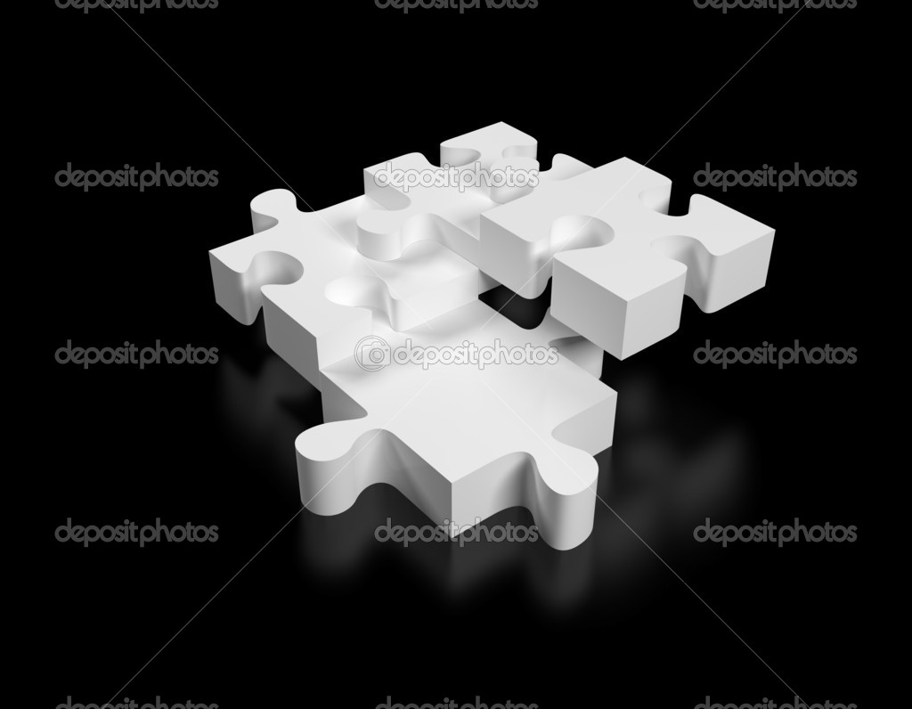 Puzzle with Business Words - Isolated on Black Background — Stock Photo #12660158