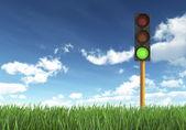 Luz verde del semáforo — Foto de Stock