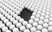 Hole between Array of Spheres — Stock Photo